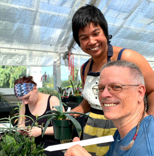 Volunteering at the Conservatory.  Greg, Cynthia and Chelsea.